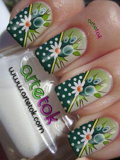 Adesivos para Unha Poá verde com Floral COD.1343