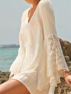 c90eddcc81137 Pretty Sexy Solid Color Half Sleeve Long Sleeve V Neck Beach Vacation Cover-Ups  Mini Dress