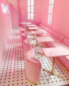 Light pink room aesthetic neon lit corridor by house of bamboo Restaurant Design, Pink Restaurant, Sketch Restaurant, Pink Love, Pretty In Pink, Light Pink Rooms, Pink Light, Roses Tumblr, Murs Roses