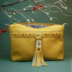 1d8bf9672de5 Купить Сумочка кожаная жёлтая - желтый, сумочка на цепочке, маленькая  кожаная сумочка