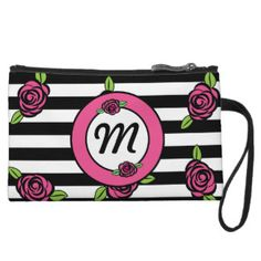 Roses and Stripes Wristlet with monogram