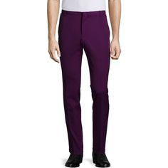 CoSTUME NATIONAL Slim-Leg Woven Trousers (33.430 RUB) ❤ liked on Polyvore featuring men's fashion, men's clothing, men's pants, purple, mens slim pants, mens slim fit pants, mens woven pants and mens purple pants