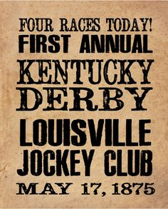 Kentucky Derby Historical Handbill 8x10 by ZietlowsCustomSigns, $8.00
