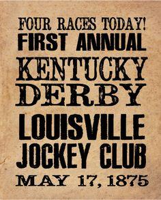 Kentucky Derby Historical Handbill 8x10 by ZietlowsCustomSigns. $8.00, via Etsy.