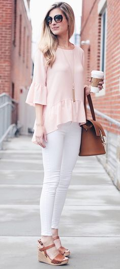 pink summer outfits - pink ruffle hem bell sleeve top with white skinny jeans and wedges on pinterestingplans