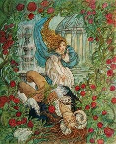 Illustrations of Beauty and the Beast -Mercer Mayer, Walter Crane, Hillary Knight, Gabriel Pacheco, Rebecca Guay, Brent Hollowell. Shop now at The Woodcutter's Daughter! Women | Children | Fairy tale clothing