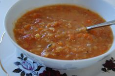 Growing up this was a pretty-much weekly item on our menu. My Mum, Julie, embraced lentil eating in the 80s along with her perm and shoulder pads. So I'm naming this as Julie's lentil, carrot, tomato soup for her. The hair and fashions have changed but this remains a favourite in our family.