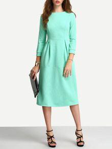 Elbow Sleeve A Line Ankle Length Dress