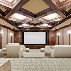 Home Theater Room - love the ceiling detail in here
