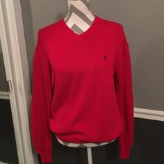 Polo Sport Ralph Lauren v neck Red Sweater Excellent condition. Size large. Color red. V neck sweater. Polo by Ralph Lauren Sweaters V-Necks
