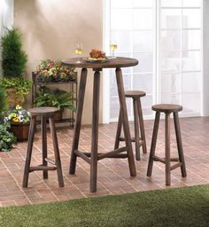 Entertain in style with this lovely wooden high-top table and stool set. Made from fir and pine, you'll have the best seat in the house or even outside to enjoy snacks, beverages or a complete meal. Comes with 3 stools and table.