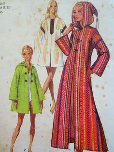 Vintage Simplicity 9426 Sewing Pattern, 1970s Caftan Pattern... That hooded coat though