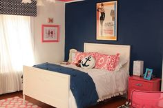 walls: Benjamin Moore  DOWN POUR BLUE  COTTON BALLS  PEONY  CHANTILLY LACE (trim)