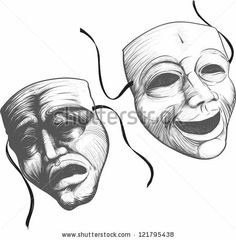 Two classic theater masks a sad and joyous, comedy and tragedy by sharpner, via Shutterstock