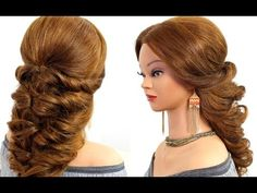 Easy wedding prom hairstyle for long hair. - YouTube