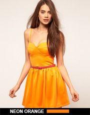 neon orange summer dress