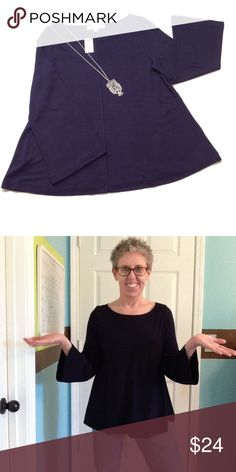 """item!  LOFT navy knit bell sleeve top Double face jersey with bell sleeves. Ballet neck and raised center seam....so very soft!! 25"""" length, 23"""" sleeves, 19"""" bust measured flat. LOFT Tops"""