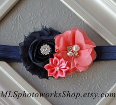 Navy Blue and Coral Pink Baby Girl Headband - Soft Spring Hair Bow in Deep Navy and Bright Coral for Babies, Toddlers, Little Girls