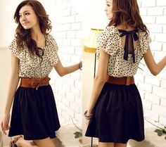 Korea Top Fashion Women Gift Dots Polka Pleated Summer Dress Short Sleeve