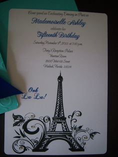 Parisian Sweet 16 Quinceañera Invitations by InvitationsbyArisbet