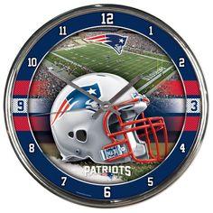 New England Patriots NFL Chrome Round Clock