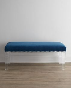 """""""Water\'s Edge"""" Bench by Massoud at Horchow.  Love the Lucite legs!"""