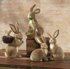 """RAZ 2015 Rustic Easter Collection ~ tan & cream bunny figures in jute & polyfoam. L-R: 18"""" Standing Rabbit with Baby Rabbit in Basket on Back (catalog# 3521909 / $53); Standing Rabbit with Basket (catalog# 3521910); Sitting/Standing Rabbit Duo (catalog# 3521911 / $60 for pair) 