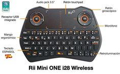"awesome Rii Mini ONE i28 Wireless (layout Español) - Mini teclado ergonómico retroiluminado con doble ratón touchpad y giroscópico, micrófono y conector de audio 3.5"" para Smart TV, Mini PC Android, PlayStation, Xbox, HTPC, PC, Raspberry Pi"