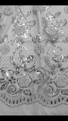 White Mesh w Silver Metallic Corded Embroidery Lace Fabric