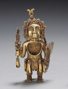 (1) Figure of a Warrior, after 1325  Central Mexico, Tetzcoco?, Aztec, Post-Classic Period  gold-silver-copper alloy (cast)