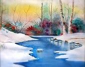 http://www.etsy.com/treasury/MTAzOTQ2MDd8MjcyMzc5MjE3NA/its-only-january-6why-must-we-rushWatercolor Print  'Snowy River' white snow blue river birch trees