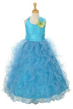 Girls Dress Style 1175- Halter Style Dress with Ruffle Taffeta Skirt  A style truly fit for trendsetters in the making! This style has it all, flare, style, and pizzazz.  http://www.flowergirldressforless.com/mm5/merchant.mvc?Screen=PROD&Product_Code=CC_1175TUR&Store_Code=Flower-Girl&Category_Code=Turquoise