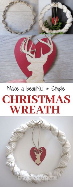 Want to make a DIY Christmas Wreath? Check out this simple Christmas Wreath tutorial. A farmhouse-inspired wreath you can easily make before Christmas! Homemade Christmas Decorations, Christmas Wreaths To Make, Homemade Christmas Gifts, Thanksgiving Crafts For Kids, Holiday Crafts, Holiday Decor, Winter Holiday, Seasonal Decor, Beautiful Christmas