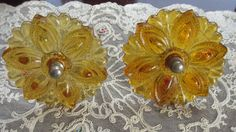 One Pair Of Vintage Amber Topaz Glass Victorian Curtain Tie Backs on Etsy, $58.00