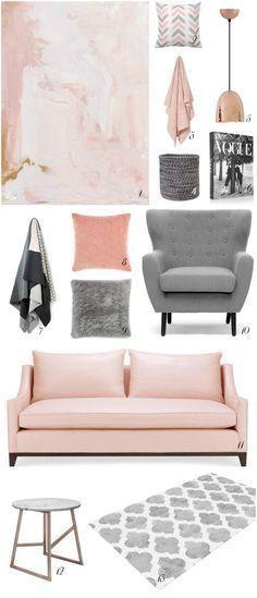 Rosa Quartz, cinza e cobre na decoração! Combinação de cores linda