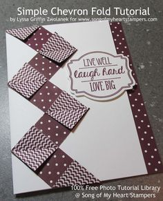 Photo Tutorial: Simple Chevron Fold Takes just five 1 x 2.5 inch scraps of patterned paper for a card and eleven for a 12x12 scrapbook page border.