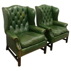 Pair of 1970's, though look much older, leather wing armchairs from Georgian Antiques on the DC