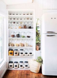 Pantry with open shelving from interior stylist's tree-change to the NSW Centr. Pantry with open shelving from interior stylist's tree-change to the NSW Central Coast. Interior Design, Kitchen Organization, Home Deco, Shelving, Home, Home Diy, House, Interior, New Homes