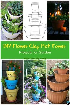 These DIY Flower Clay Pot Flower Tower Projects will be brilliant for vertical garden in such creative ways it will spruce up your garden this Spring. via @diyhowto