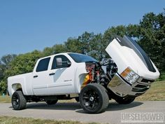 powerstroke #diesel Jacked Up Trucks, Gm Trucks, Diesel Trucks, Cool Trucks, Chevy Trucks, Pickup Trucks, Muddy Trucks, 2008 Chevy Silverado, Chevy Duramax
