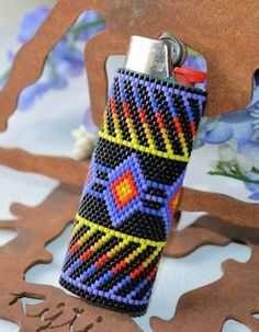 Butterfly Lighter Cover Brick Stitch Bead by StarrDesignStudio Indian Beadwork, Native Beadwork, Native American Beadwork, Peyote Stitch Patterns, Beading Patterns Free, Seed Bead Patterns, Bracelet Patterns, Loom Bands, Lighter Case