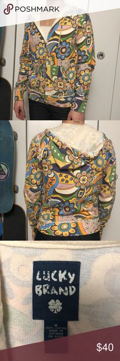 Lucky brand cloth psychedelic hoodie 🌈 Lucky brand cloth size medium hoodie featuring fun psychedelic pattern! No signs of wear with zipper and draw strings perfectly intact. Pairs great with jeans 👖 Lucky Brand Tops Sweatshirts & Hoodies