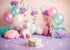 Baby Cake Smash, 1st Birthday Cake Smash, Baby First Birthday, Unicorn Themed Cake, Unicorn Themed Birthday Party, Cake Smash Photography, Birthday Photography, Newborn Photography, Cake Smash Backdrop