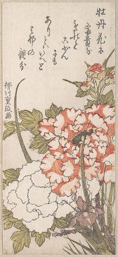 Yanagawa Shigemasa (Japanese, 18th19th century). Peonies and Iris, 18th19th century. Japan. The Metropolitan Museum of Art, New York. H. O. Havemeyer Collection, Bequest of Mrs. H. O. Havemeyer, 1929 (JP2176) #iris #flower
