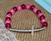 Light and Dark Pink Silver Rhinestone Sideways Cross Bracelet for Modern Style, Layering, Teens, Faith, Mother's Day, Easter, & Communion