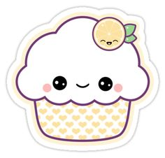 super kawaii lemon nom nom cupcake stickers!