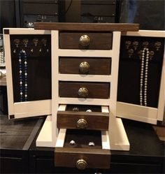 "9 Free DIY Jewelry Box Plans: Ana White's ""Fancy"" Jewelry Box Plan"