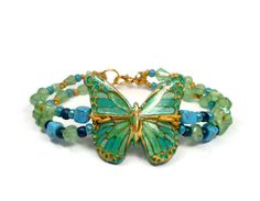 Turquoise Butterfly Beaded Bracelet- polymer clay jewelry- Summer Bracelet-Leather Bracelet - pinned by pin4etsy.com