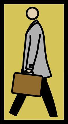 Julian walking with briefcase Continuous computer animation on lcd screen 105 x 66 x 15 cm / 41 x 26 x 5 in. Lisson Gallery, Art Gallery, Opi, James Rosenquist, Art Postal, Claes Oldenburg, Jasper Johns, Collage, Roy Lichtenstein