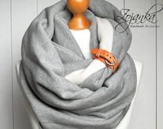 EXTRA grueso bufanda Infinity con brazalete de cuero por Zojanka